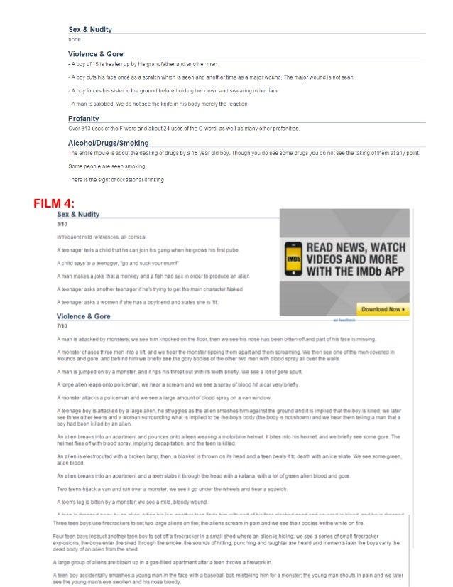 Applying bbfc ratings imdb parents guides for 6 films