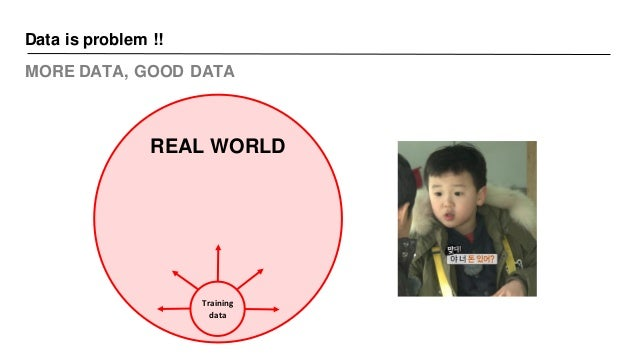 Data is problem !! MORE DATA, GOOD DATA REAL WORLD Training data
