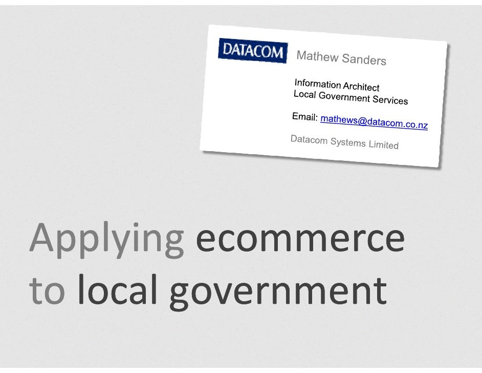 Applying ecommerce to local government