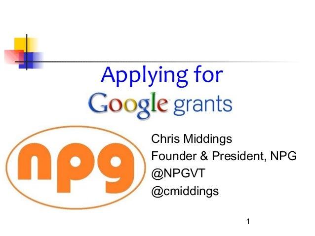 Chris MiddingsFounder & President, NPG@NPGVT@cmiddings1Applying for