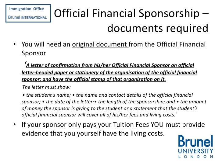 Applying for a tier 4 student visa 9 immigration officef official financial sponsorship altavistaventures Images