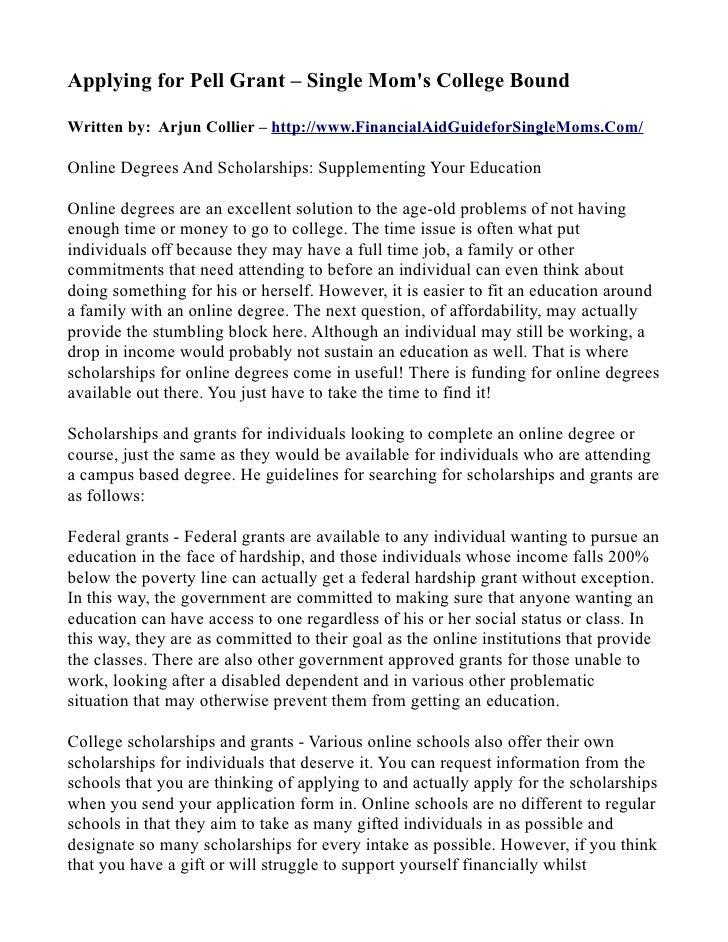 Applying for Pell Grant – Single Mom's College Bound  Written by: Arjun Collier – http://www.FinancialAidGuideforSingleMom...