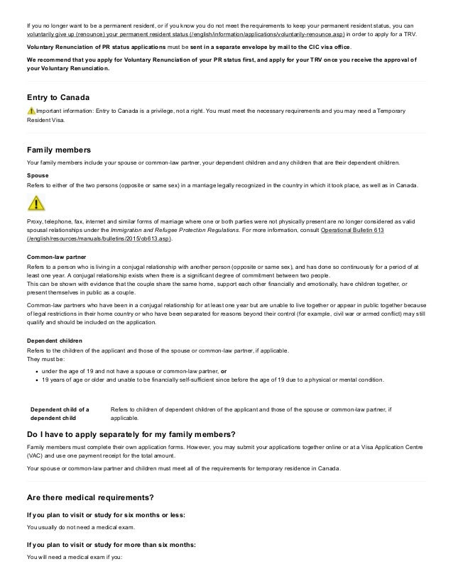 Applying for visitor visa (temporary resident visa – imm 5256)