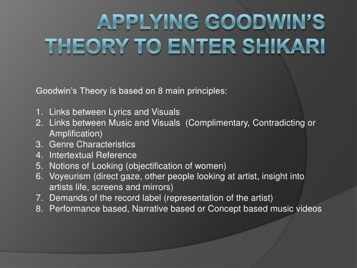 Goodwin's Theory is based on 8 main principles:1. Links between Lyrics and Visuals2. Links between Music and Visuals (Comp...