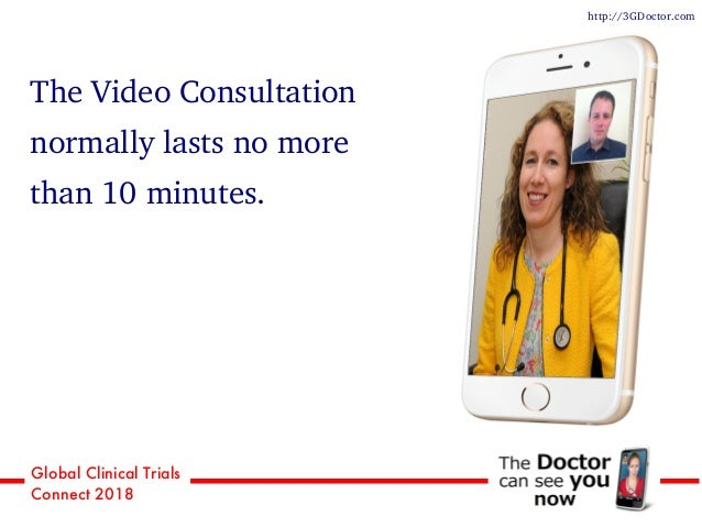 Global Clinical Trials Connect 2018 The Video Consultation normally lasts no more than 10 minutes. http://3GDoctor.com