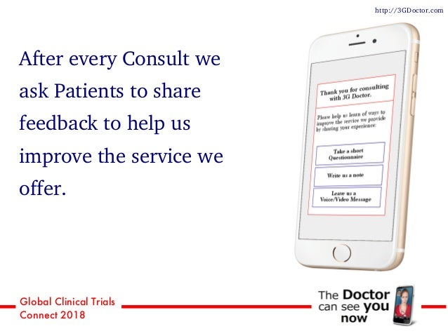 Global Clinical Trials Connect 2018 After every Consult we ask Patients to share feedback to help us improve the service w...