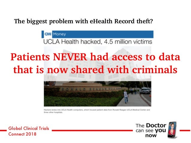 Global Clinical Trials Connect 2018 The biggest problem with eHealth Record theft? Patients NEVER had access to data that ...