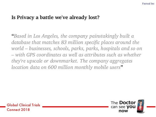 """Global Clinical Trials Connect 2018 Is Privacy a battle we've already lost? """"Based in Los Angeles, the company painstaking..."""