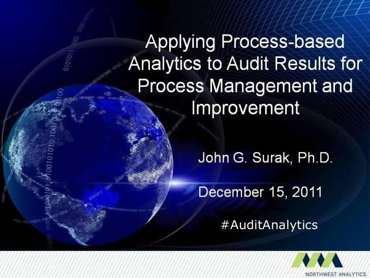 #AuditAnalytics© 2009. J. G. Surak                     1
