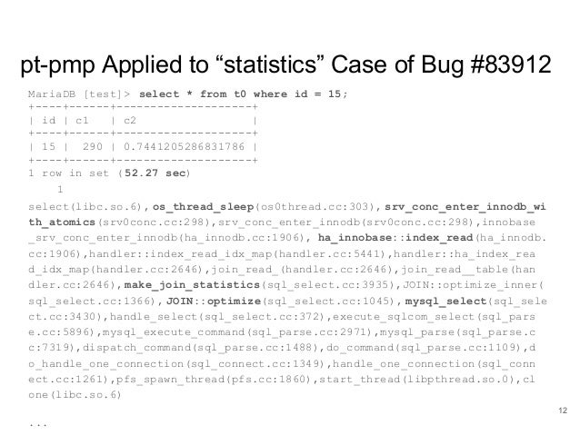 """www.percona.com pt-pmp Applied to """"statistics"""" Case of Bug #83912 MariaDB [test]> select * from t0 where id = 15; +----+--..."""