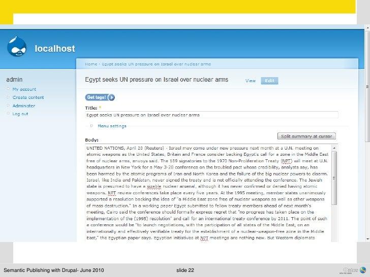 Semantic Publishing with Drupal- June 2010   slide 22