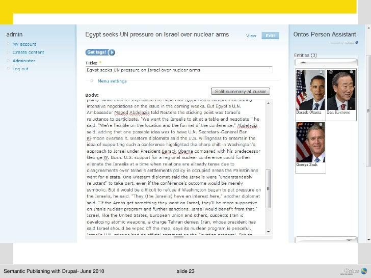 Semantic Publishing with Drupal- June 2010   slide 23
