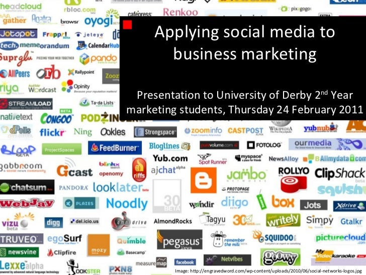 Applying social media to business marketing Presentation to University of Derby 2 nd  Year marketing students, Thursday 24...