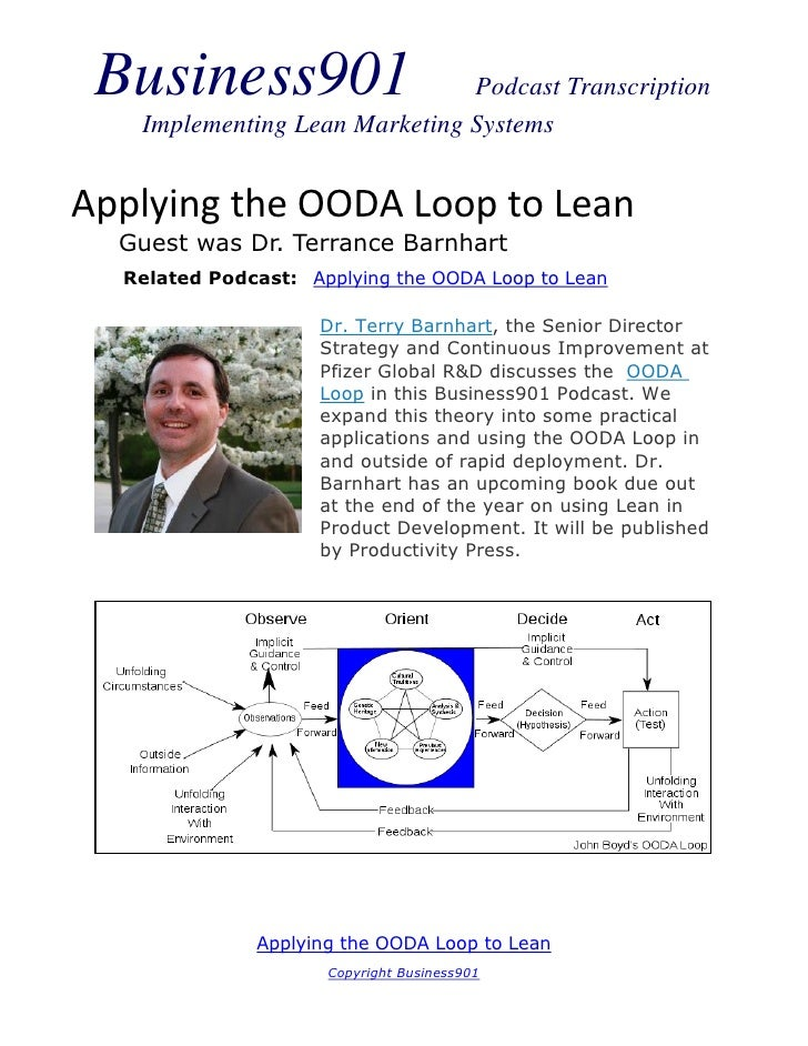 Business901                   Podcast Transcription   Implementing Lean Marketing SystemsApplying the OODA Loop to Lean  G...