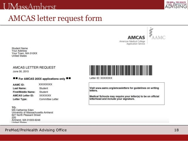 18premedprehealth advising office amcas letter request form