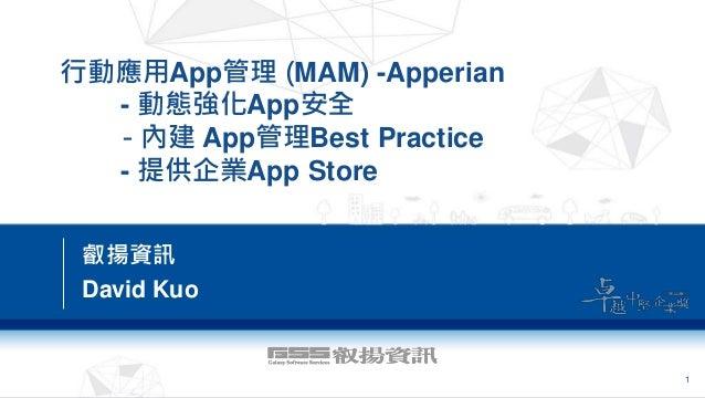 行動應用App管理 (MAM) -Apperian - 動態強化App安全 - 內建 App管理Best Practice - 提供企業App Store 叡揚資訊 David Kuo 1