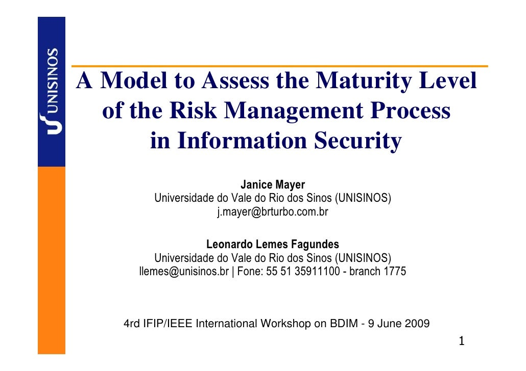 A Model to Assess the Maturity Level   of the Risk Management Process        in Information Security                      ...