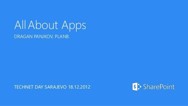 All About AppsDRAGAN PANJKOV, PLANB.TECHNET DAY SARAJEVO 18.12.2012