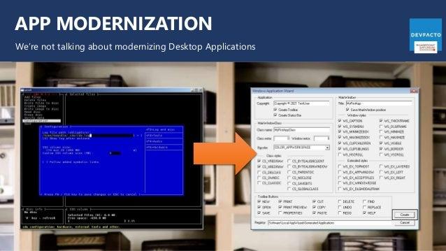 APP MODERNIZATION We're not talking about modernizing Desktop Applications