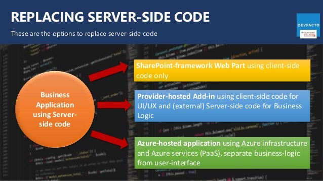 REPLACING SERVER-SIDE CODE These are the options to replace server-side code Business Application using Server- side code ...