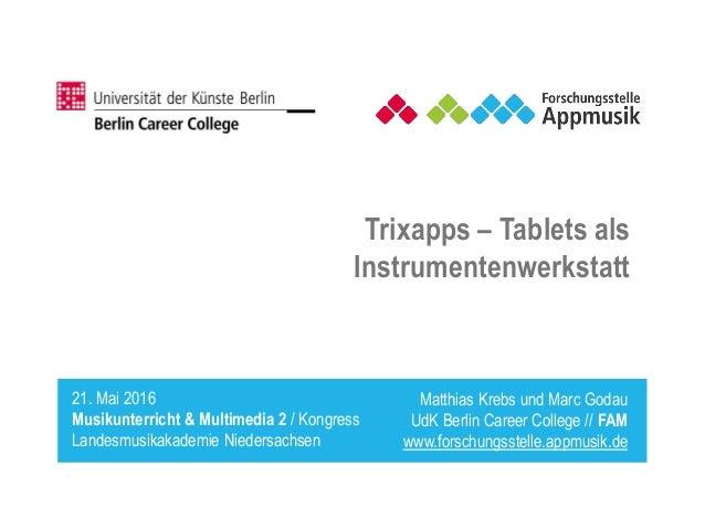 Matthias Krebs und Marc Godau UdK Berlin Career College // FAM www.forschungsstelle.appmusik.de 21. Mai 2016 Musikunterric...