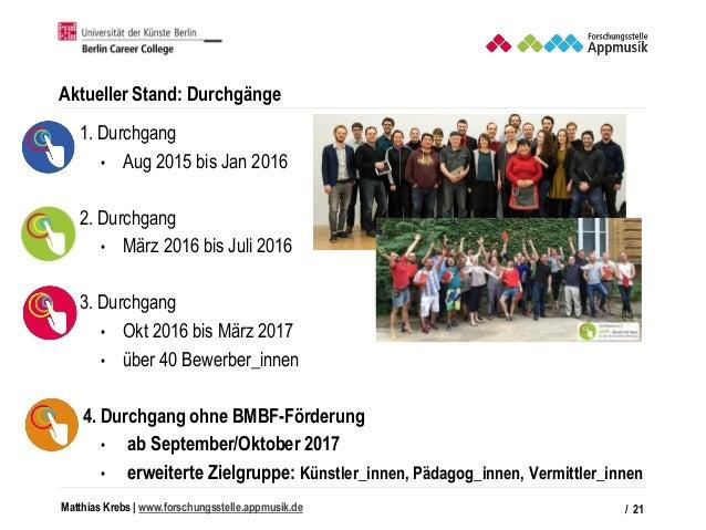 Matthias Krebs   www.forschungsstelle.appmusik.de Aktueller Stand: Durchgänge • 1. Durchgang • Aug 2015 bis Jan 2016 • 2. ...