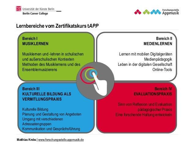 Matthias Krebs   www.forschungsstelle.appmusik.de Bereich I MUSIKLERNEN Musiklernen und -lehren in schulischen und außersc...