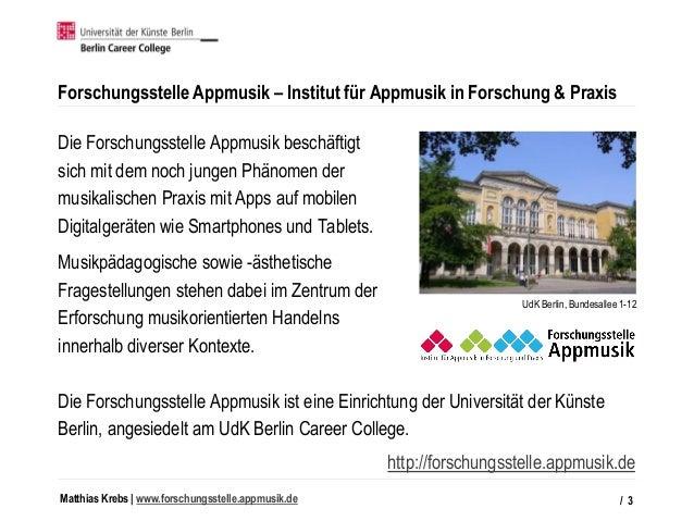 Matthias Krebs   www.forschungsstelle.appmusik.de Forschungsstelle Appmusik – Institut für Appmusik in Forschung & Praxis ...