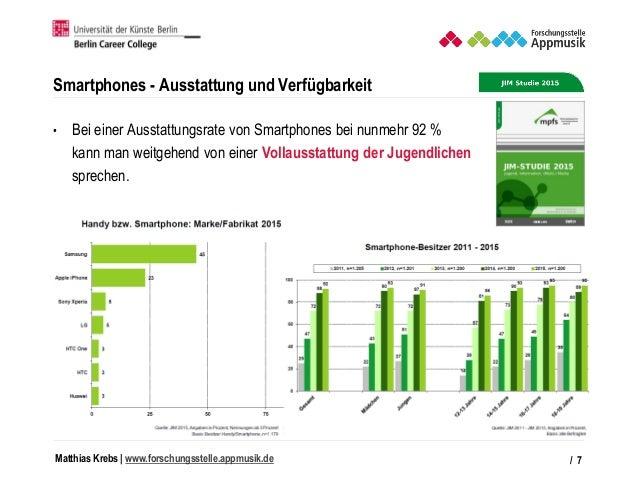 Matthias Krebs   www.forschungsstelle.appmusik.de Smartphones - Ausstattung und Verfügbarkeit • Bei einer Ausstattungsrate...