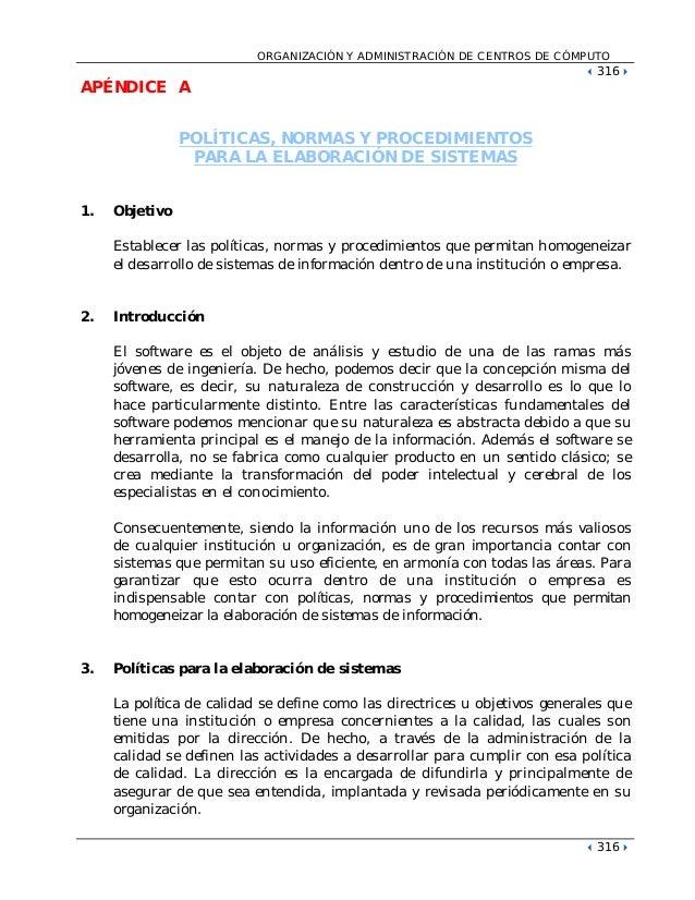 ORGANIZACIÓN Y ADMINISTRACIÓN DE CENTROS DE CÓMPUTO !316