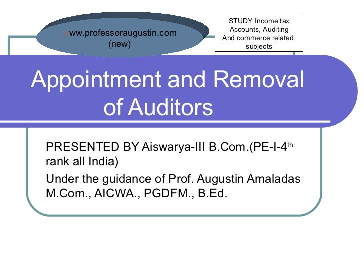 Appointment and Removal  of Auditors PRESENTED BY Aiswarya-III B.Com.(PE-I-4 th  rank all India) Under the guidance of Pro...