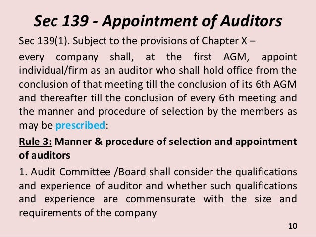considerations when appointing auditors Meeting report appointment of external auditor: recommendations of the audit committee the committee had previously begun to deal with the consideration of appointment of the external auditor for the auditor-general of south africa (agsa) during its meeting on 19 august 2009.