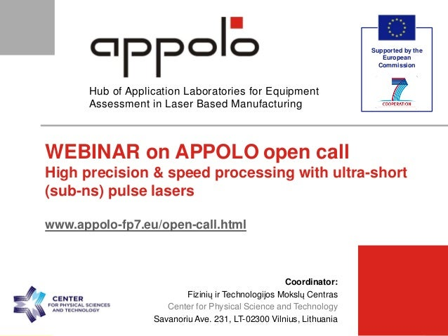 supported by [Partner Logo]  [Partner]  [Meeting Title]  30-Jan-15  p. 1  Hub of Application Laboratories for Equipme...