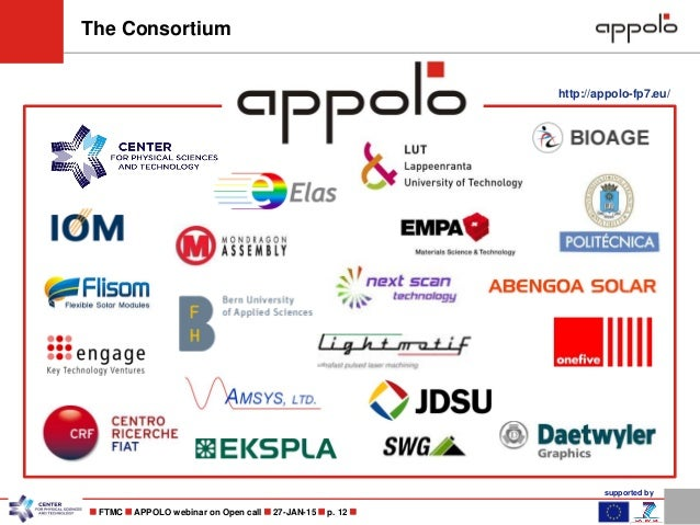 supported by  FTMC  APPOLO webinar on Open call  27-JAN-15  p. 12  The Consortium http://appolo-fp7.eu/