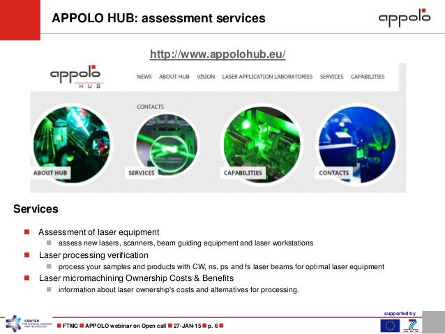 supported by  FTMC  APPOLO webinar on Open call  27-JAN-15  p. 6  APPOLO HUB: assessment services http://www.appolohu...