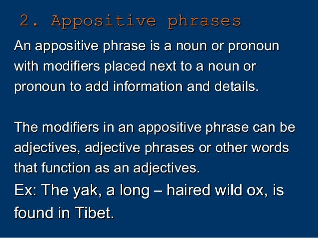 Appositive And Appositive Phrase