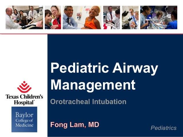 Pediatric Airway Management Pediatrics