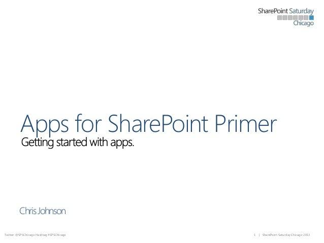 Apps for SharePoint Primer  Chris Johnson Twitter: @SPSChicago Hashtag #SPSChicago  1  | SharePoint Saturday Chicago 2013