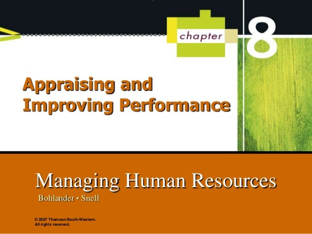 bohlander snell and performance appraisals Human resource management by george w bohlander, 9780324593303, available at book depository with free delivery worldwide.