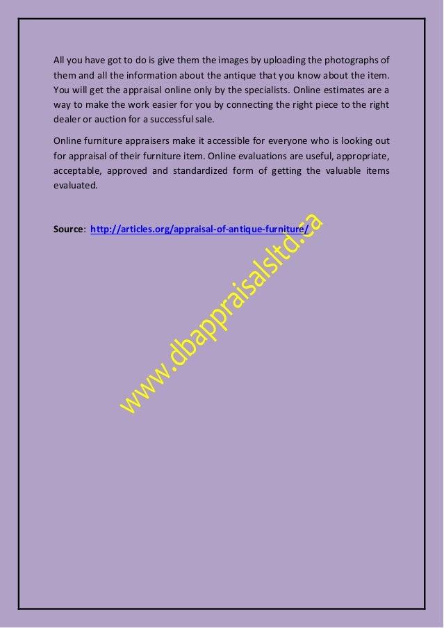 2. - Appraisal Of Antique Furniture