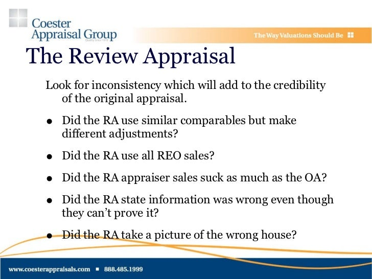Appraisal related repurchases for What do house appraisers look for