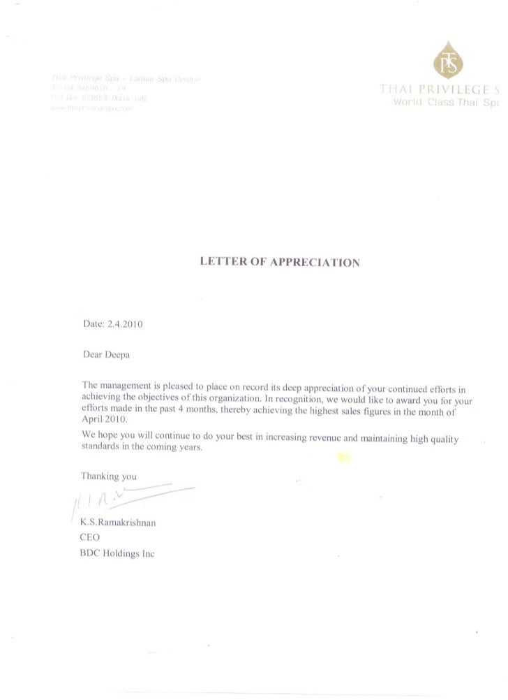 sle of letter of appreciation appreciation letter highest sales figure