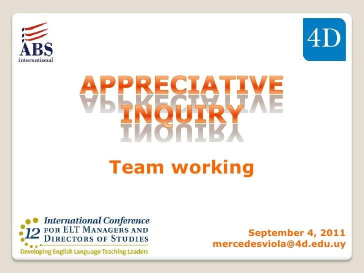 Team working              September 4, 2011        mercedesviola@4d.edu.uy