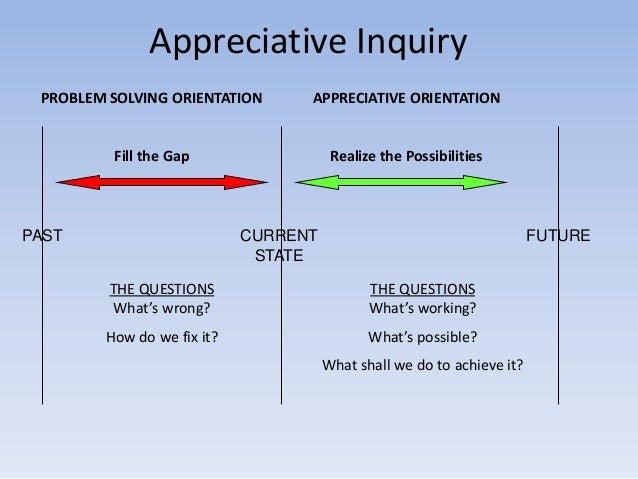 appreciative inquiry Appreciative inquiry examples of questions, principles, coaching, tools, summits, workshops for organizational culture change and leadership strategies the appreciative inquiry model is one answer to the question what is appreciative inquiry.