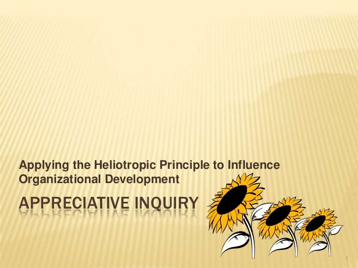 Appreciative inquiry<br />Applying the Heliotropic Principle to Influence Organizational Development<br />1<br />