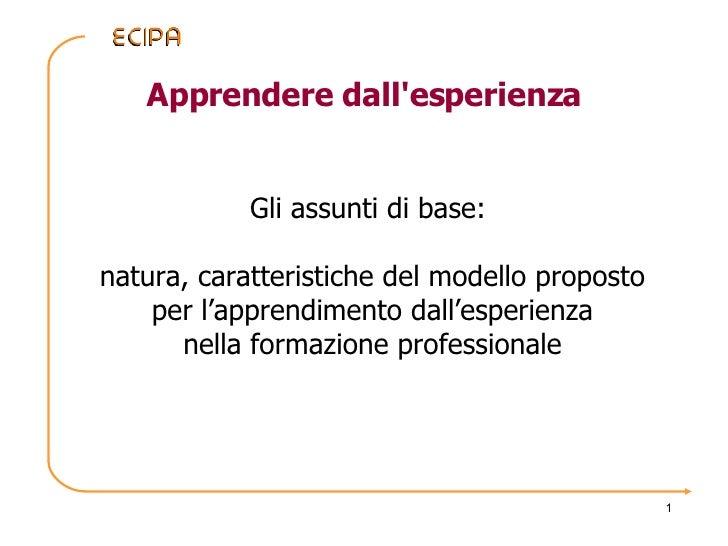Apprendere dall'esperienza Gli assunti di base:  natura, caratteristiche del modello proposto per l'apprendimento dall'esp...
