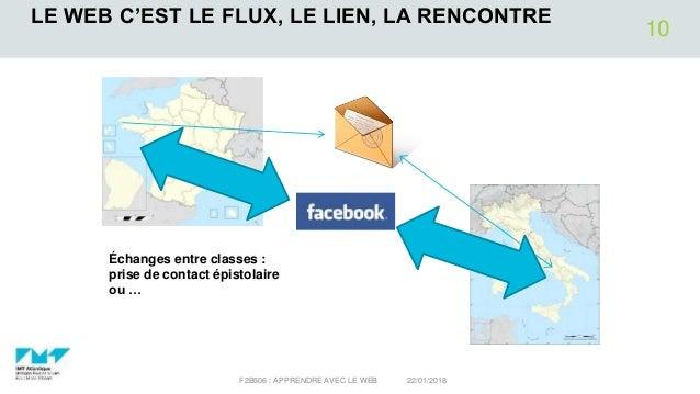 LE WEB C'EST LE FLUX, LE LIEN, LA RENCONTRE 22/01/2018F2B506 : APPRENDRE AVEC LE WEB 10 Échanges entre classes : prise de ...