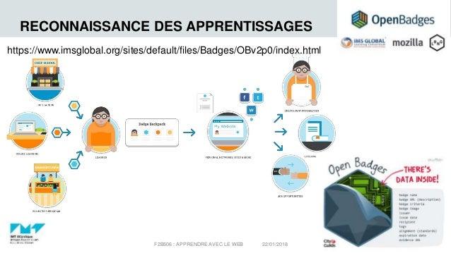 RECONNAISSANCE DES APPRENTISSAGES 22/01/2018F2B506 : APPRENDRE AVEC LE WEB 18 https://www.imsglobal.org/sites/default/file...