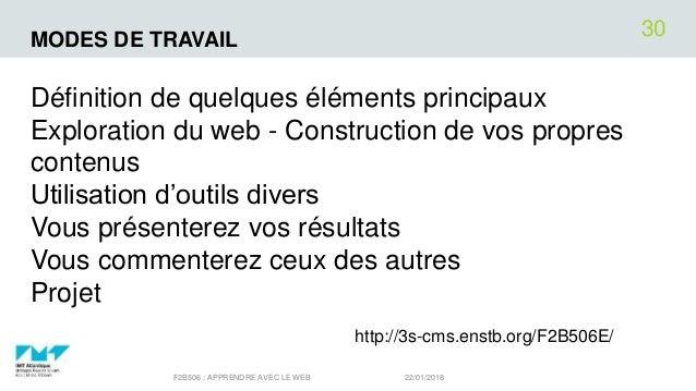MODES DE TRAVAIL Définition de quelques éléments principaux Exploration du web - Construction de vos propres contenus Util...