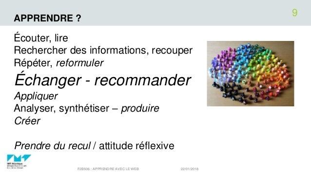 APPRENDRE ? Écouter, lire Rechercher des informations, recouper Répéter, reformuler Échanger - recommander Appliquer Analy...